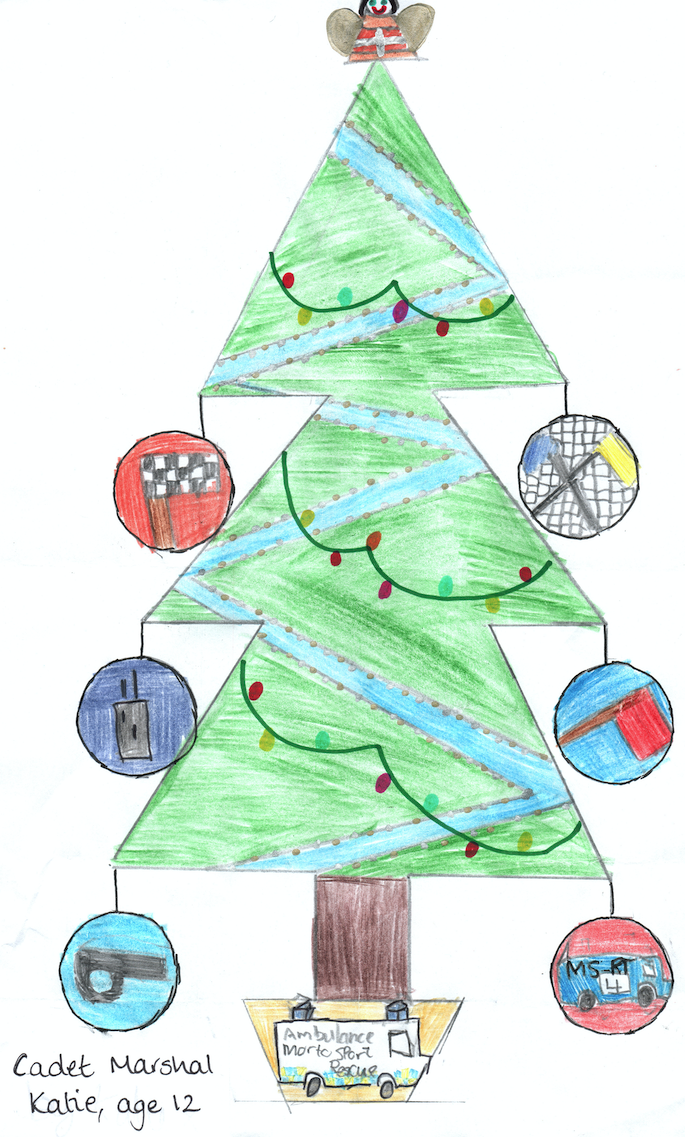 SMMC Christmas Tree, drawn by Cadet Marshal Katie, age 12