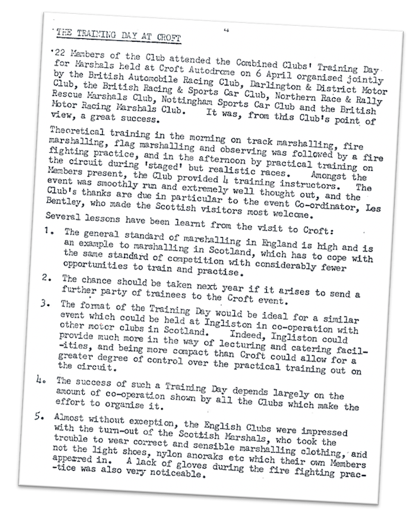 The training day was reported in MARSHALS POST No.4 - May 1974
