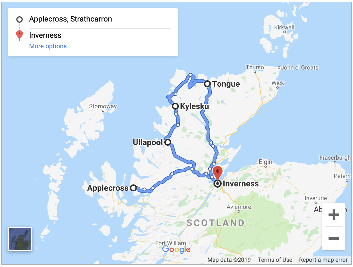 Map of route from Applecross to Inverness