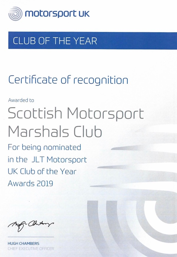 Club of the Year - recognition of nomination